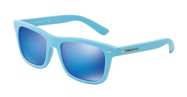 Dolce & Gabbana DG6095 299725 GREEN MIRROR LIGHT BLUEAZURE RUBBER